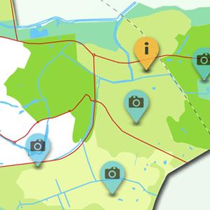 fragment van de interactieve kaart van het landschap rond Zutphen