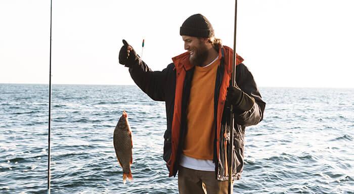 man heeft vis gevangen